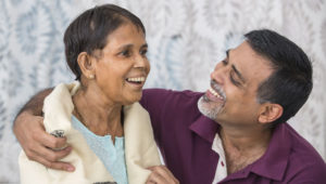 son caring for elderly mum