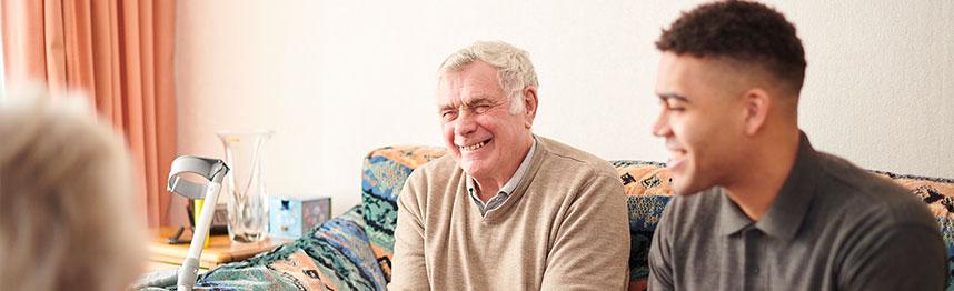 elderly man with enliven support worker